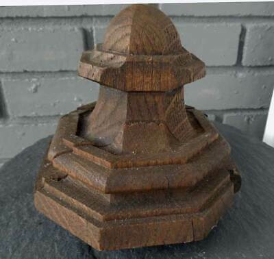 Antique OAK NEWEL POST FINIAL HEXAGON SHAPE ( B )