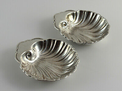 Sterling Silver Signed 4 Shell Butter Pats or Nut Bowls - Set of 2