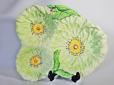 Antique Art Deco Carlton Ware Green Poppy Serving Plate Dish Bowl Flowers Tray