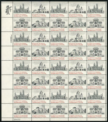 US #1838-1841 1838-41 1841a 15¢ American Architecture Sheet of 40 F-VF NH MNH