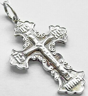 LARGE Pendant STERLING SILVER BODY big ORTHODOX CROSS CRUCIFIX 925