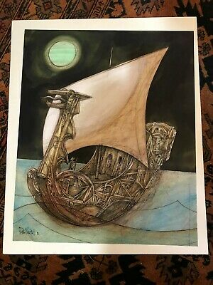 Peter Nuttall drawing with watercolor Ancient Viking Ship
