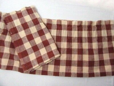 The Country House Collection Barn Red Buffalo Check Lined Valances (Set of 2)