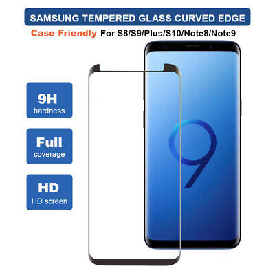 For Samsung Galaxy S8 S9 S10 Note8/9 Curved Edge Tempered Glass Screen Protector