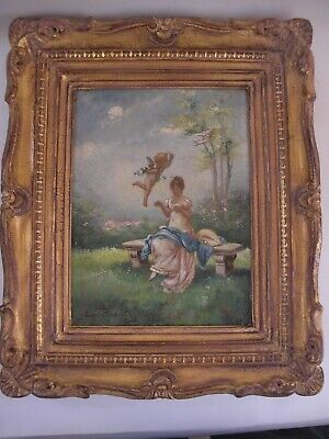 "French Cherub Putti Oil Painting Signed ""Say Perault"" Gilt Wood Carved Frame"