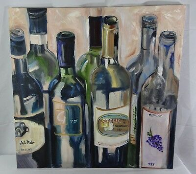 """Oil Painting on Canvas - Wine Bottles - 24"""" x 24"""" - Original - PRICE REDUCED"""