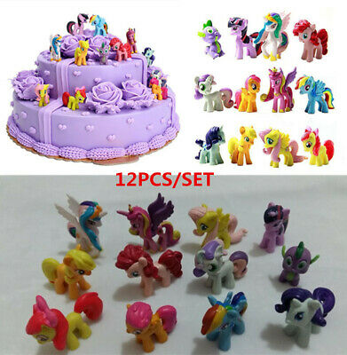 New 12PCS/SET My Little Pony Cake Toppers PVC Action Figures Kids Girl Toy 3-5CM