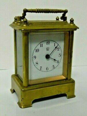 Antique Waterbury Brass Carriage Chime Clock For Parts Repair