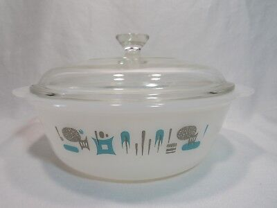 Fire King Vintage Atomic Round Casserole Blue Heaven by Royal China
