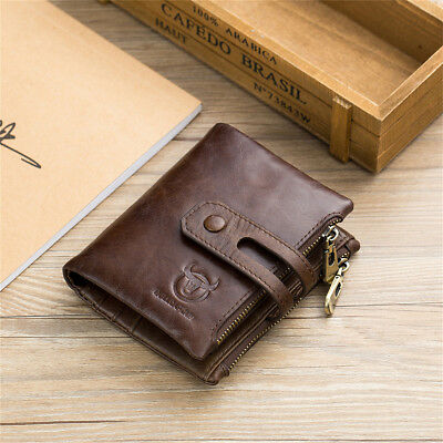 Genuine Leather Men Wallet Zipper&Hasp Male Short Coin Purse RFID Antimagnetic