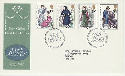 GB Stamps First Day Cover Jane Austen, literature, author etc SHS initials 1975