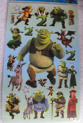Dreamworks Shrek 2 Shiny Sticker Sheet Fiona Donkey Puss Boots Farquad Dragon