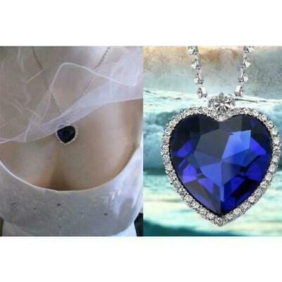 Heart Of The Ocean Silver Necklace Chain Costume Jewellery Gift Titanic