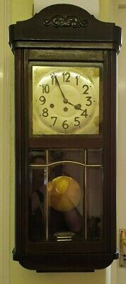 Vintage 8 Day Westminster Chiming Mahogany Wall Clock.