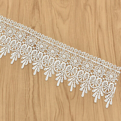 5 Yards White Lace Trim Ribbon Embroidered Edge DIY Sewing Craft Trimming
