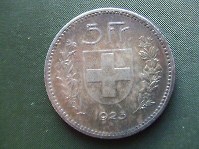 Switzerland.  1923, Silver Five Francs.   Rare.  Superb Condition   Nice Tone.