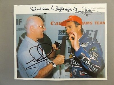 """HAND SIGNED 7"""" x 6"""" MAGAZINE PAGE PHOTO - BOTH MURRAY WALKER & NIGEL MANSELL"""