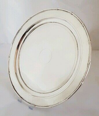 Antique Chinese Export silver Tray / Salver Decorated in with Bamboo .By Zee Wo