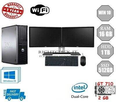 Dell Dual Screen Computer Desktop Win10 16GB 1TB or 512SSD GT710-2GB DDR3