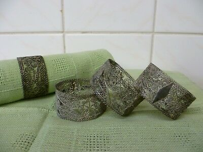 Four Antique Extremely Intricate Filigree Worked Silver Plated Napkin Rings.