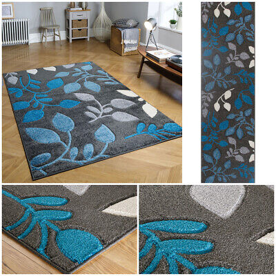 Modern Multi Colour Teal Budget Small Large Runner Heatset Carved Portland Rug