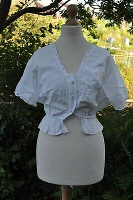 Authentic Antique Undergarmen Chemise Whitework Camisole, Hand Embroidered birds