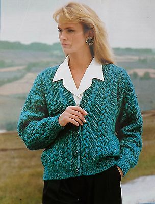 "#293 LADY/'S DK CABLE CARDIGAN 34-44/"" VINTAGE KNITTING PATTERN"