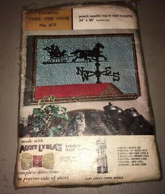 Vintage Aunt Lydia's Heavy Rug Yarn Punch Needle Pattern Canvas Weather Vane 619