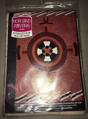 Vintage Aunt Lydia's Heavy Rug Yarn Punch Needle Pattern Canvas Hopi Painting