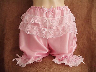 Baby pink satin,white lace bows bloomers!Victorian,re-enactment,burlesque,sexyXX