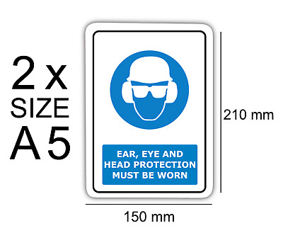 A5 Ear,eye and head protection pk of 2 Self Adhesive Vinyl,Sticker, Waterproof