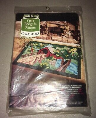 Vintage Aunt Lydia's Heavy Rug Yarn Punch Needle Pattern Canvas Covered Bridge