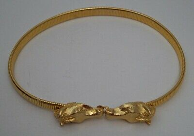 Vintage Lady's Mimi Di N Gold Horse Head Buckle Stretch Belt 1974 Equestrian