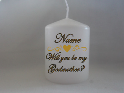 Unique Personalised Will you be my Godmother Godfather Godparents Candle Gift