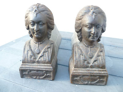 Antique Pair Of French, Cast Iron, 'Marquis De Sade' Figural Fire Dogs.  Chenets