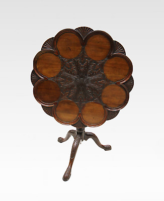 A Beautiful Quality Mahogany Carved Tilt Top Table Stamped Edwards And Roberts