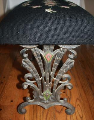 Rare Antique Wrought and Cast Iron Needlepoint Bench Foot Stool - ca. 1920's