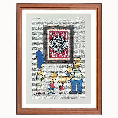 The Simpsons vs Obey Shepard Fairey - Make art... - dictionary page art print