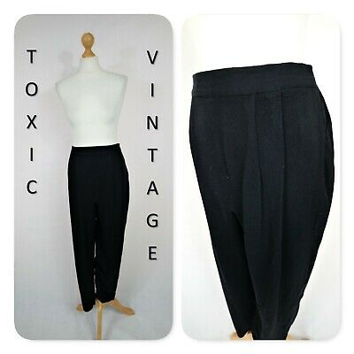 VINTAGE 80s 90s BLACK HIGH WAIST TROUSERS. 10-12. PREPPY RETRO GEEK CHIC HIPSTER