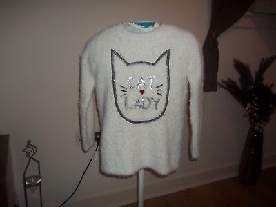 girls white fluffy cat detail jumper from matalan aged 10yrs in good condition