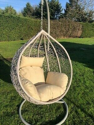 Extra Large Patio Hanging Chair Garden Grey Rattan Swing Comfortable Egg Chair