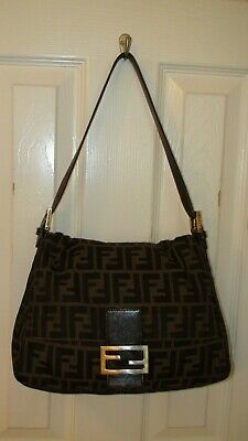 30b2ca5ee6c2 FENDI Zucca Canvas Shoulder Bag Black Brown Dust Bag Authentic Pre-Owned