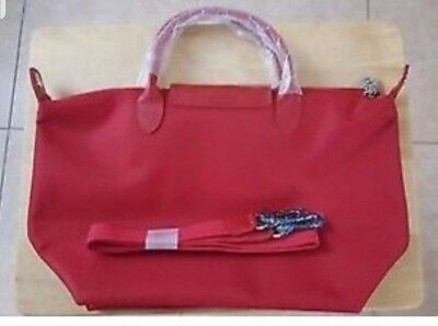 2656eb93d2 NWT LONGCHAMP LE Pliage Neo Medium Tote Bag Ruby Red Bloomies Excl ...