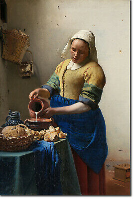 Johannes Vermeer - The Milkmaid (1658) Classic Painting Photo Poster Print Art