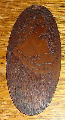 Vintage Pyrographic Wall Plaque Beautiful Woman