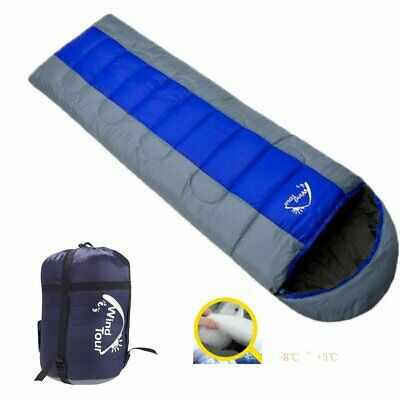 -8℃ ~ +5℃ Thermal Winter Envelope Camping Sleeping Bag Hooded Water Resistant