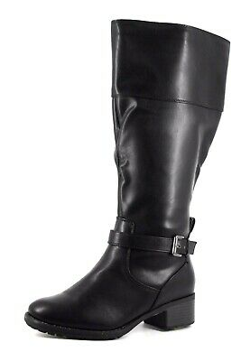 Evans Womens UK 4 EEE Extra Wide Fit Liv Black Zip Up Knee High Tall New Boots