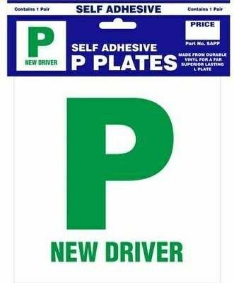 2 x SELF ADHESIVE PASS NEW DRIVER GREEN P PLATE PLATES FOR CAR VEHICLE