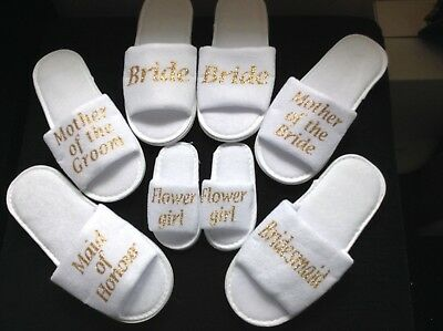 Gold Hen Bride Spa Slippers wedding Bridesmaid personalised gift Up to £2 OFF!