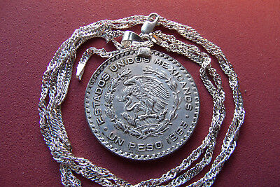 "1963 MEXICAN SILVER PESO COIN PENDANT on a 30""  925/1000 SILVER OCEAN WAVE CHAIN"